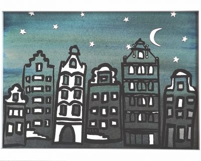 Print Herengracht by night A4